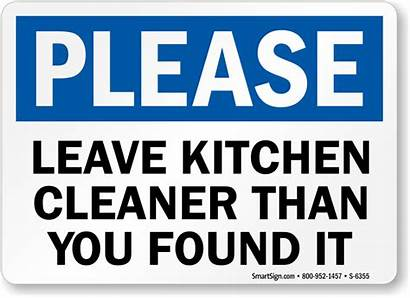 Signs Clean Sign Kitchen Please Cleaning Leave