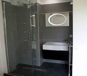 salle de bain carrelee grise et noire mg creation photo n57 With salle de bain grise et noire