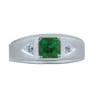 diamond  white gold emerald mens princess cut ring
