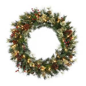shop christmas central nisswa berry 24 in pre lit indoor pine artificial christmas wreath with