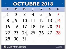 October month in a year 2018 wall calendar in spanish