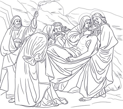 fourteenth station jesus  laid   tomb coloring page
