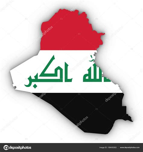 Iraq Map Outline With Iraqi Flag On White With Shadows 3d
