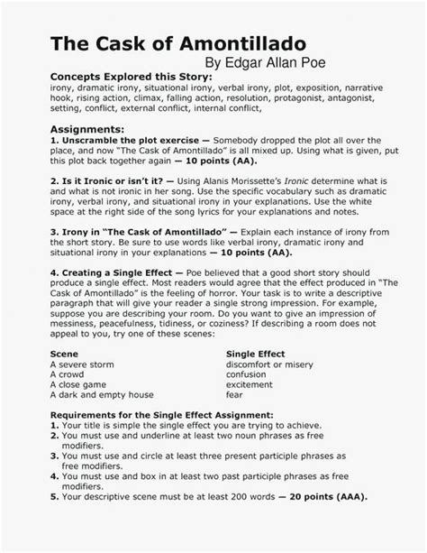 cask  amontillado worksheet answers briefencounters