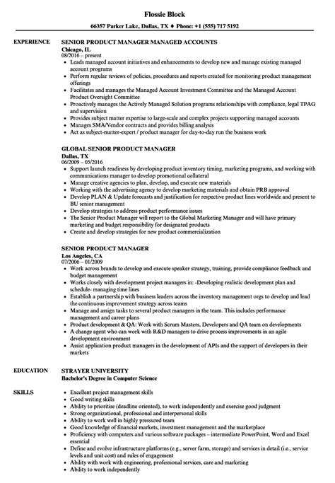 Great Product Manager Resume by Senior Product Manager Resume Sles Velvet