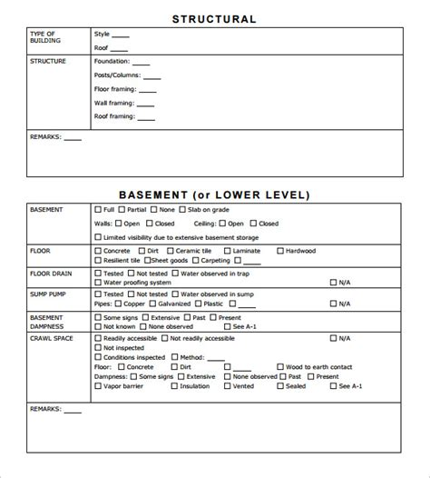 sample home inspection reports docs word pages