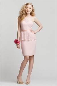 One Shoulder Short Blush Pink Chiffon Lace Peplum ...