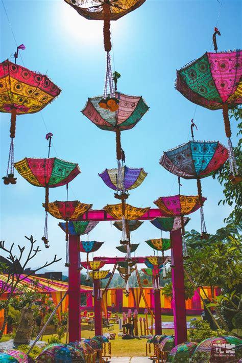 Umbrella Garden Decoration by Rajasthani Theme Decor Idea For Mehendi With Hanging