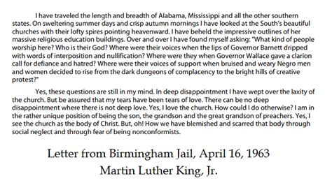martin luther king jr letter from birmingham jail