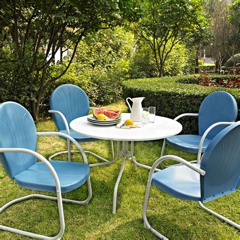 blue outdoor table and chairs blue white outdoor metal retro 5 piece dining table