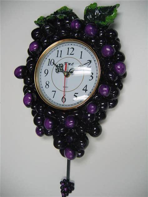 grape pendulum wall clockkitchen wine vineyard toscan fruit bar home decor