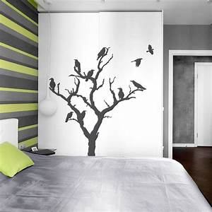 Decorating crows tree wall decal featuring varnished wood for Inspiring dollar tree wall decals