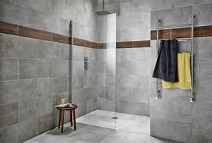 carrelage gris mural et de sol 55 idees interieur et With porte de douche coulissante avec frise carrelage mural salle de bain