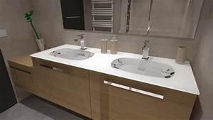 Meuble Salle De Bain Bois Gris : salle de bain bois beige blanc gris avec douche italienne ~ Edinachiropracticcenter.com Idées de Décoration