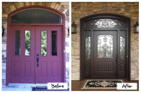 door doors garage double after entry before custom iron masterpiece composite replacement glass transom dark side lights building unique inspiration