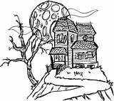 Haunted Coloring Mansion Pages Drawing Spooky Printable Simple 3d Houses Castle Cartoon Hill Mansions Line Halloween Easy Sketch Disney Print sketch template