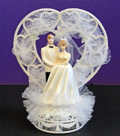 wedding cake topper bride  groom hearts bridal