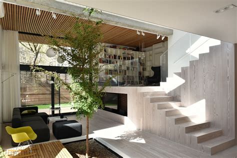 split level home interior split level living space with an indoor tree growing