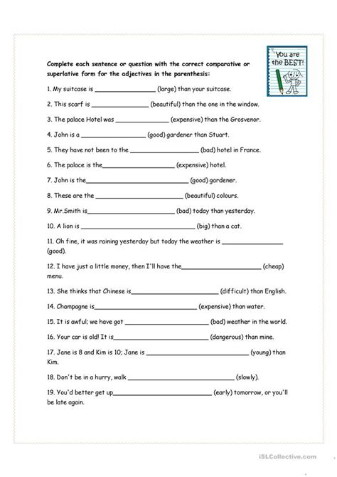 comparative and superlative exercises worksheet free esl printable worksheets made by teachers