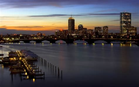 sunset cityscape boston wallpapers hd desktop