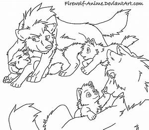 Small Wolf Family Line Art by Firewolf-Anime on DeviantArt