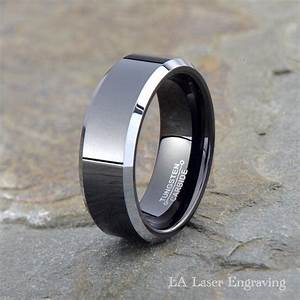 Tungsten wedding band men tungsten wedding ring black for Men wedding ring tungsten