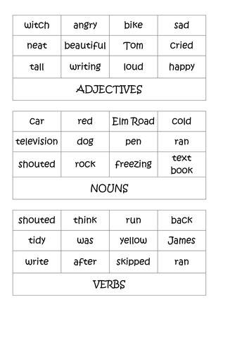 nouns verbs adjectives ks2 activities by shanfog