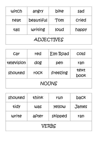 nouns verbs adjectives ks2 activities by shanfog teaching resources tes
