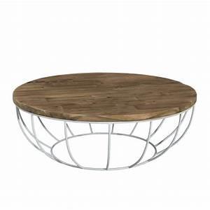 Table Basse Metal Ronde : table basse ronde bois pied blanc 100cm tinesixe so inside ~ Teatrodelosmanantiales.com Idées de Décoration