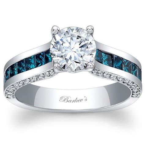 barkevs  blue diamond princess cut channel set