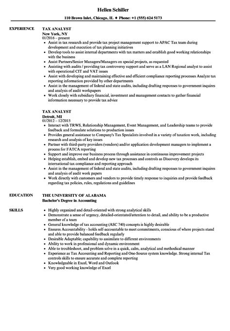 tax analyst resume sle 28 images resume cover letter