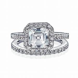 Great gatsby inspired antique style cz engagement ring for Wedding rings with engagement ring set