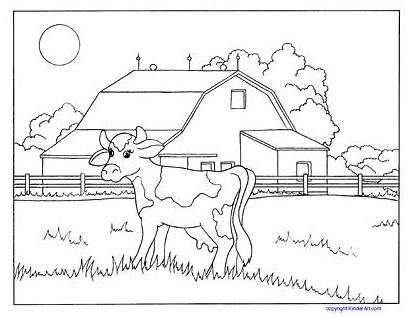 Coloring Farm Cow Pages Barn Animals Pdf