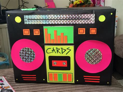 handmade retro neon boom box card box looked perfect