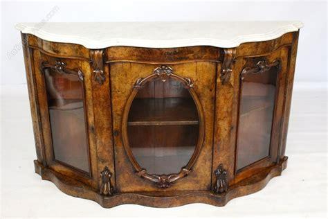 Burr Walnut Credenza Sideboard Cabinet Marble Top