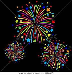 Colorful Firework Black Background Stock Vector