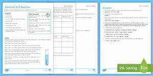 Metal And Acid Reactions Investigation Instruction Sheet