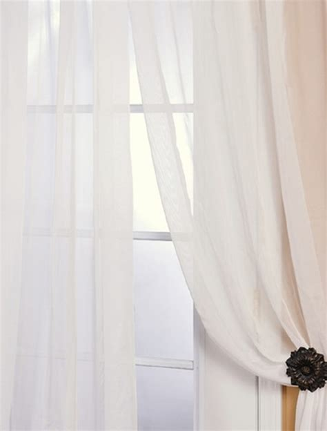 White Sheer Voile Curtains by Solid White Voile Poly Sheer Curtain Contemporary