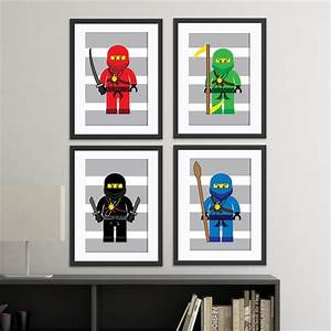 4 new themes lego inspired childrens wall art prints With lego wall art