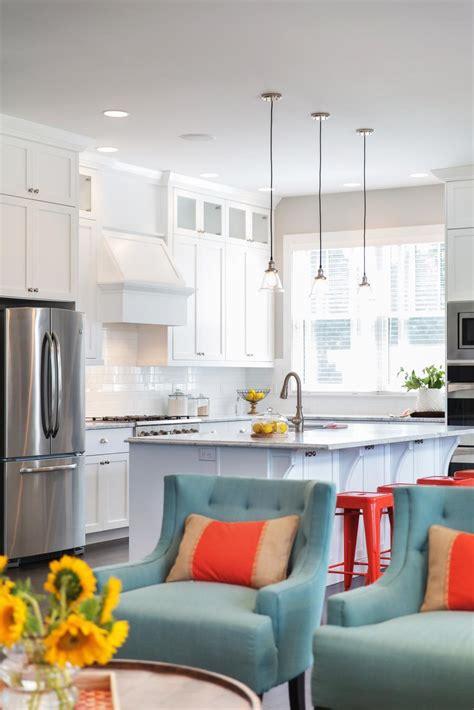 transitional open plan kitchen  white cabinets hgtv