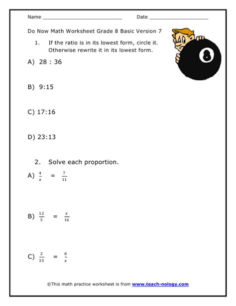 maths worksheets year 8 ratios do now math grade 8 basic version 7
