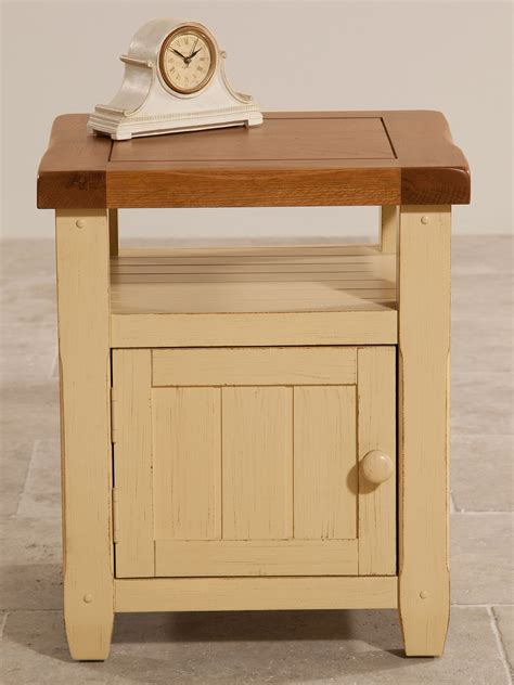 shabby chic oak furniture phoenix shabby chic rustic oak and painted 1 door bedside cabinet