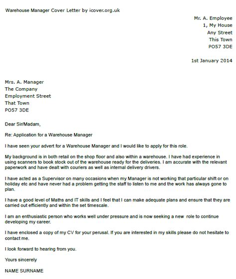warehouse manager cover letter exle icover org uk