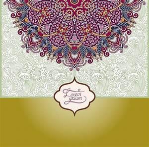 Islamic vintage floral pattern, template frame for