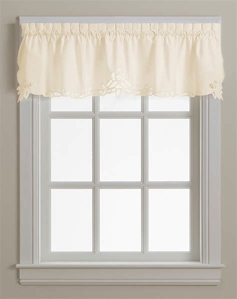 battenburg lace cotton kitchen curtain valance ecru