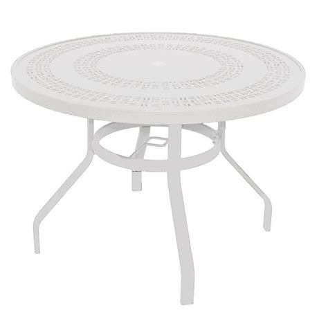 white round outdoor table marco island 42 in white round commercial aluminum patio