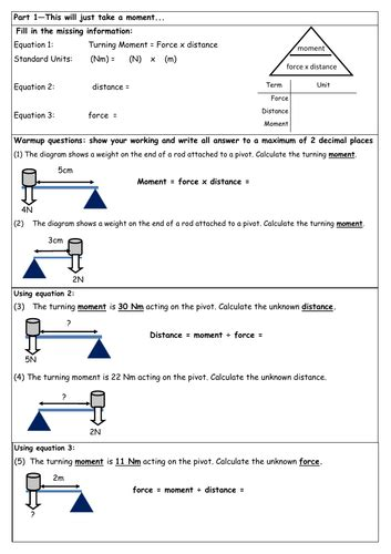 new gcse 9 1 moments and levers scaffolded worksheet