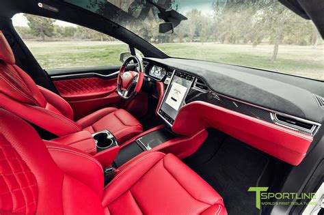 custom tesla model   bentley red interior selling