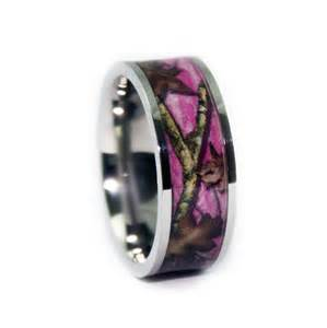 pink camo wedding rings flat titanium camouflage band by 1 camo - Pink Camo Wedding Rings