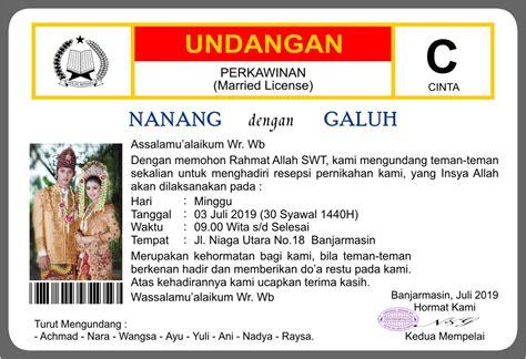 Undangan Untuk Teman by Template Undangan Perkawinan Unik Tadungkung